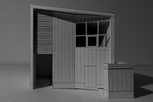 東側外観。正面からはシンプル、コンパクトな住まい。勾配屋根と壁の角度が特徴的。
